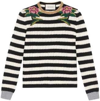Gucci Embroidered merino cashmere knit top