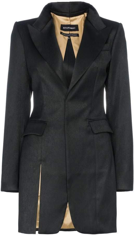 Situationist fitted slit wool blend blazer dress