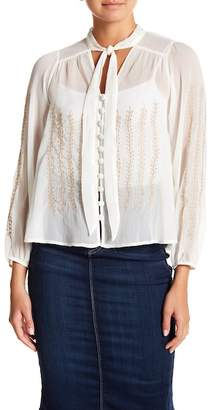 Always & Forever Metallic Embroidered Tie Neck Blouse
