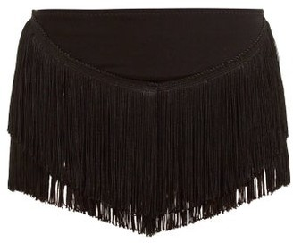 Norma Kamali Fringed High Rise Shorts - Womens - Black