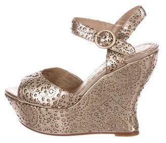 Alice + Olivia Metallic Platform Wedges