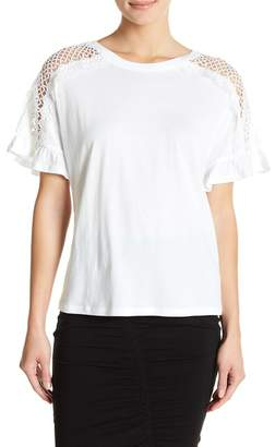 14th & Union Lace Shoulder Inset Tee (Petite Size Available)