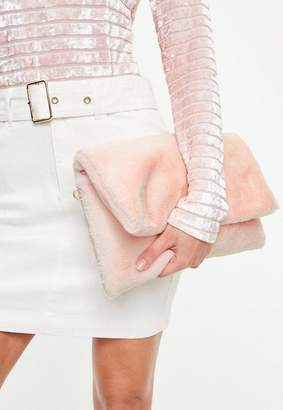 Missguided Pink Cuddle Clutch Bag