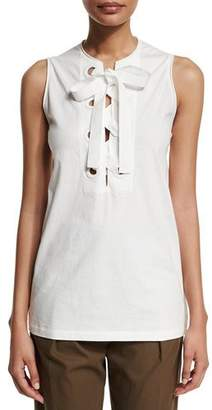 3.1 Phillip Lim Bohemian Sleeveless Lace-Front Top, White