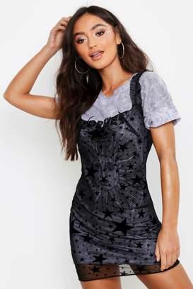 1109d157a3d3 boohoo Petite Flock Mesh Star Print Mini Dress