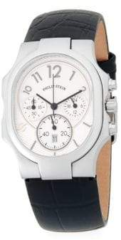 Philip Stein Teslar Stainless Steel Chronograph Leather-Strap Watch