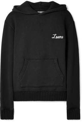Amiri Appliquéd Cotton-jersey Hooded Top - Black