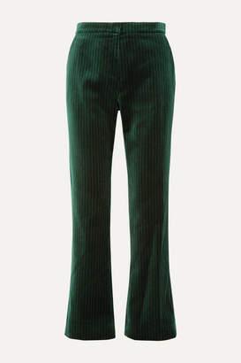 ALEXACHUNG Metallic Pinstriped Cotton-velvet Straight-leg Pants - Dark green