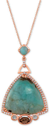 "LeVian Le Vian Sky Aquaprase (24 x 24mm, 5 x 5mm) & Multi-Gemstone (7/8 ct. t.w.) 18"" Pendant Necklace in 14k Rose Gold, Created for Macy's"