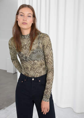 And other stories Snake Print Mesh Top