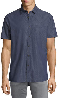 Civil Society Men's Short-Sleeve Printed Denim Chambray Shirt