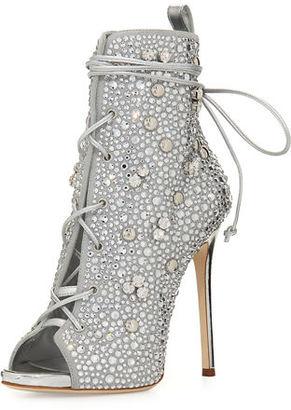 Giuseppe Zanotti for Jennifer Lopez Lynda Crystal Open-Toe 120mm Bootie $2,995 thestylecure.com
