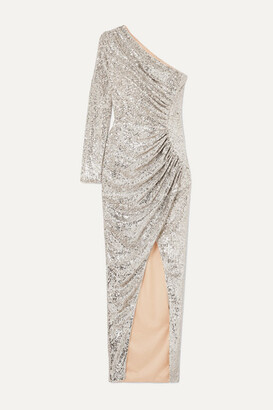 Rasario One-shoulder Ruched Sequined Tulle Gown - Silver