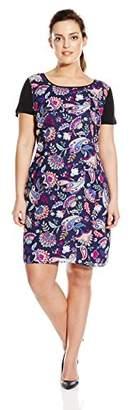 Single Dress Women's Plus Size Print Front Short Sleeve Shift $14 thestylecure.com