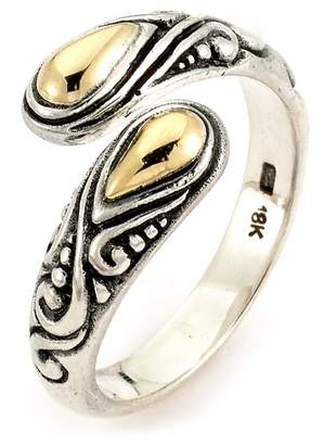 Samuel B Jewelry Bypass Two-Tone Sterling Silver Wrap Ring
