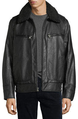 Andrew Marc Amherst Faux-Leather Bomber Jacket
