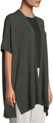 Joan Vass Open-Front Short-Sleeve Lounge Topper