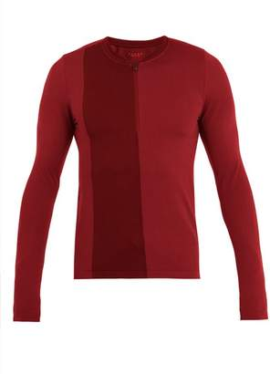 Falke Ess - Half Zip Long Sleeved T Shirt - Mens - Burgundy Multi