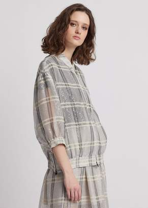 Emporio Armani Oversized Bomber Jacket In Check Organza With Sequins