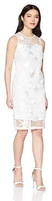 Calvin Klein Women's Petite Sleeveless Lace Sheath with Illusion Neckline Dress