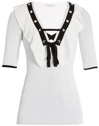 Sonia Rykiel Ruffle Trimmed V Neck Top - Womens - White Multi