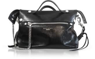 Balmain Black Wrinkled Leather Mini Satchel Bag
