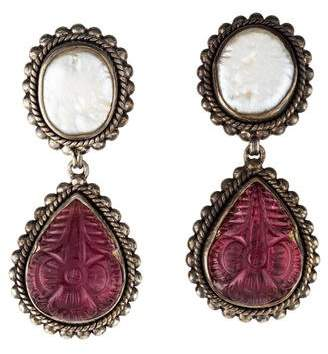 Stephen Dweck Pearl & Tourmaline Drop Earrings
