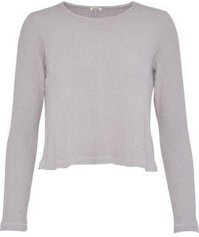 Monrow Cropped Ribbed-Knit Top