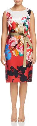 Marina Rinaldi Dolina Belted Floral-Print Silk Dress