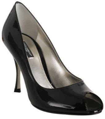 Dolce & Gabbana black patent peep-toe stiletto pumps