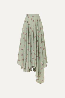 Loewe Paula's Ibiza Asymmetric Floral-print Crepe De Chine Maxi Skirt - Green