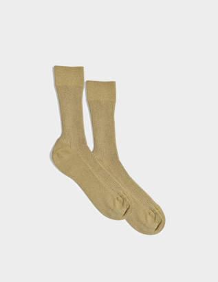 Maria La Rosa Glitter Socks in Gold Nylon and Synthetic Fabric