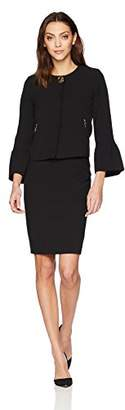 Tahari by Arthur S. Levine Women's Crepe Skirt Suit with Tulip Sleeve Jacket