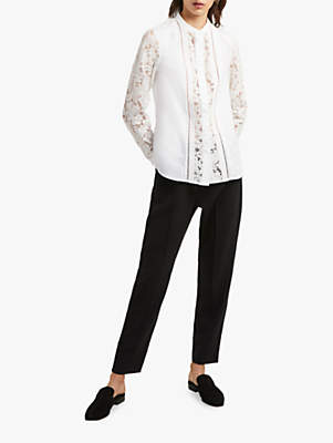 French Connection Embroidered Lace Mix Shirt, Winter White