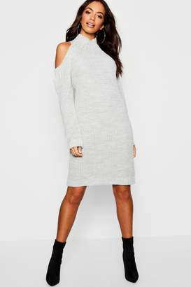 boohoo Cold Shoulder Knitted Dress