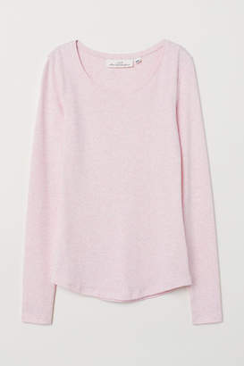 H&M Long-sleeved Jersey Top - Pink
