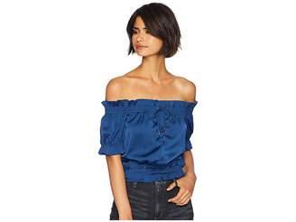 Romeo & Juliet Couture Front Tie Off Shoulder Short Sleeve Blouse Women's Blouse