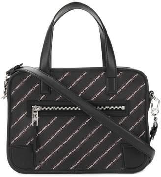 Karl Lagerfeld striped logo bowling bag