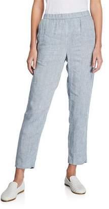 Eileen Fisher Plus Size Yarn-Dye Hanky Linen Straight-Leg Pants