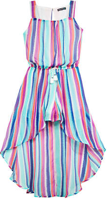 Sequin Hearts Striped Maxi-Overlay Romper, Big Girls