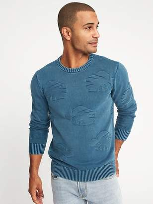 Old Navy Garment-Dyed Intarsia-Knit Sweater for Men