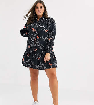 Asos DESIGN Curve mini shirt dress with contrast stitching in horse print