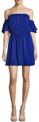 Milly Christy Off-the-Shoulder Stretch-Silk Dress, Cobalt