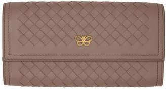 Bottega Veneta Pink Intrecciato Flap Wallet