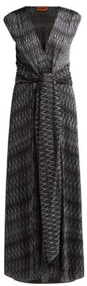Missoni Zigzag Knitted Wrap Front Dress - Womens - Black