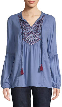 ST. JOHN'S BAY Womens Split Crew Neck Long Sleeve Embroidered Peasant Top