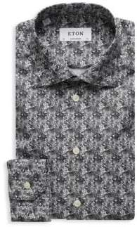 Eton Contemporary Fit Abstract-Print Cotton Dress Shirt