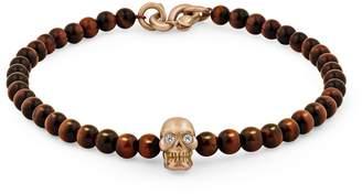 Snake Bones - Skull Bracelet in 18K Gold with Diamond Eyes, Red Tiger Eye and Snake Clasp
