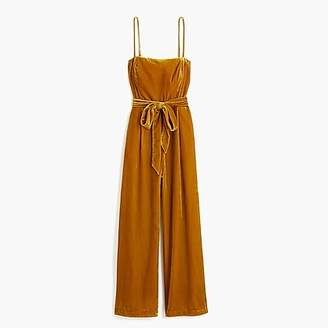 J.Crew Petite velvet jumpsuit with tie