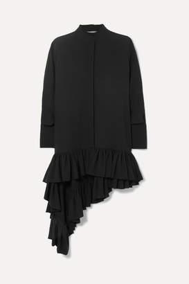 Alexander McQueen Asymmetric Ruffled Silk-crepe Blouse - Black